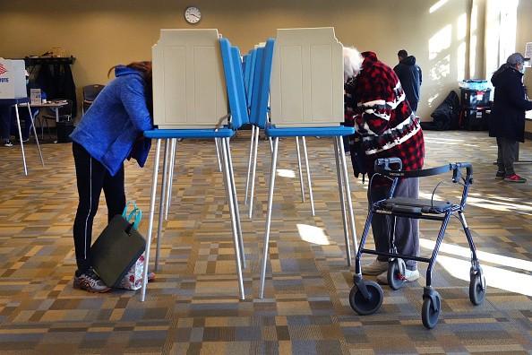 In Beloit, Wisconsin, residents vote at the Beloit Public Library