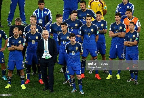 Head coach Alejandro Sabella of Argentina looks on with his team...