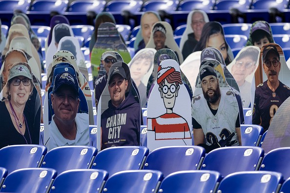 A general view of fan cutouts in seats before the game between the...