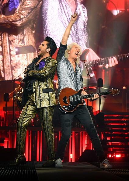 Singer Adam Lambert and guitarist Brian May of Queen + Adam Lambert...