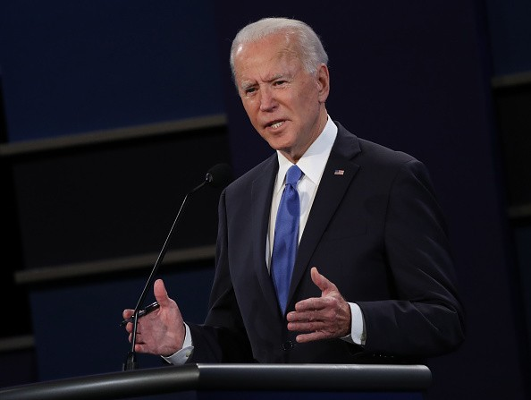 Democratic presidential nominee Joe Biden participates in the final...