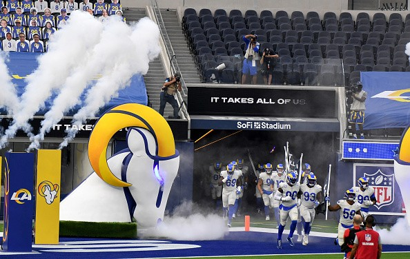 Los Angeles Rams take the field in front of an empty stadium prior to...
