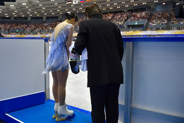 Mai Mihara of Japan bows in the Ladies Free Skating during day two of...
