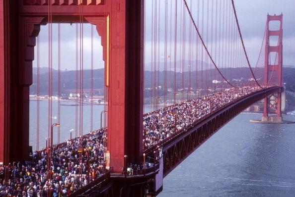 The Golden Gate Bridge 50th Anniversary Bridge Walk in May 1987.