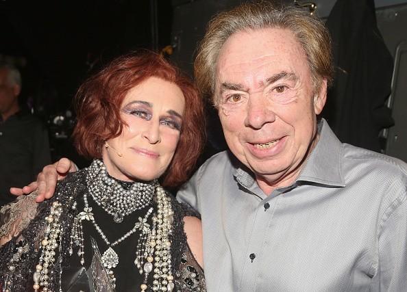Glenn Close and Composer Sir Andrew Lloyd Webber pose backstage after...
