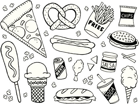A junk food/fast food themed doodle page.