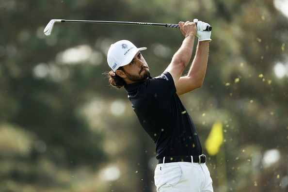 Abraham Ancer of Mexico plays his shot from the third tee during the...
