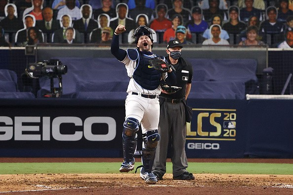 Mike Zunino of the Tampa Bay Rays celebrates a 4-2 win against the...
