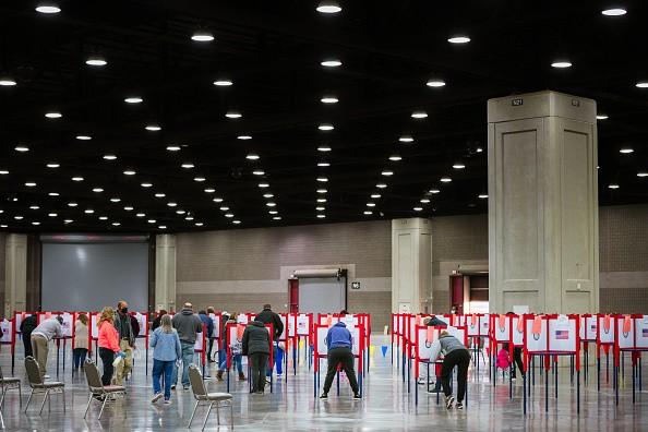 In Louisville, Kentucky, voters cast their ballots at the Kentucky Exposition Center