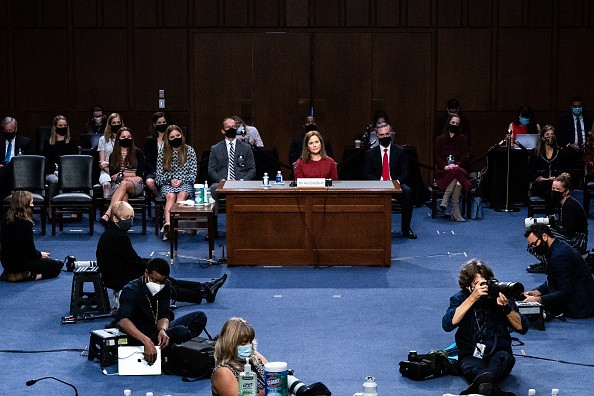 General view of Supreme Court nominee Judge Amy Coney Barrett before...
