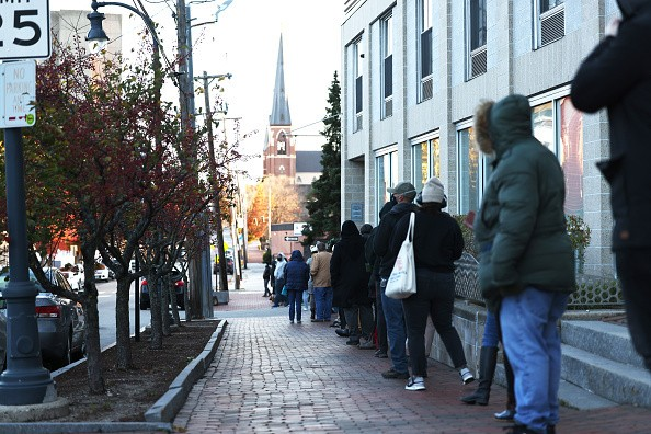 In Portland, Maine, people wait in line to vote on Election Day