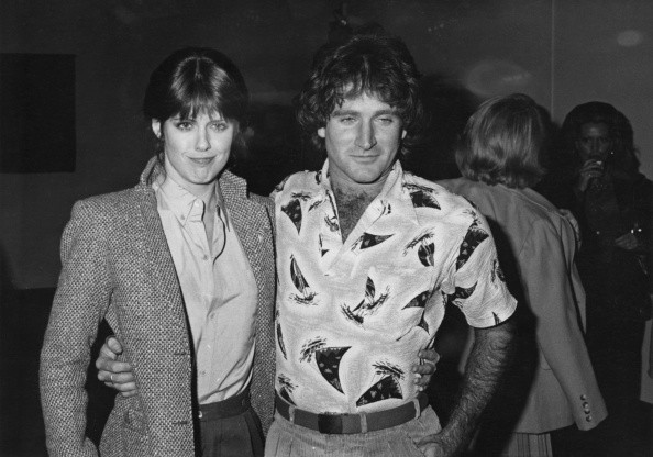American actor and comedian Robin Williams with actress Pam Dawber at...