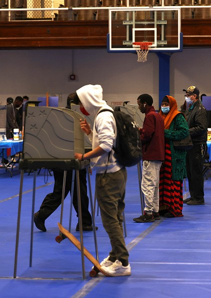 In Lewiston, Maine, people cast their vote at the Lewiston Armory