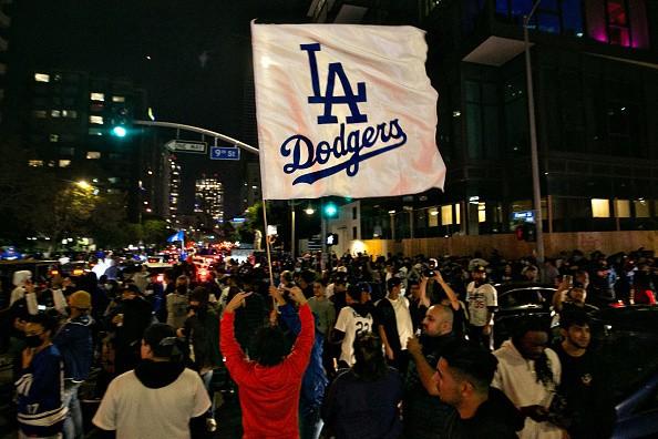 Fans celebrate in DTLA the Los Angeles Dodgers winning the World...