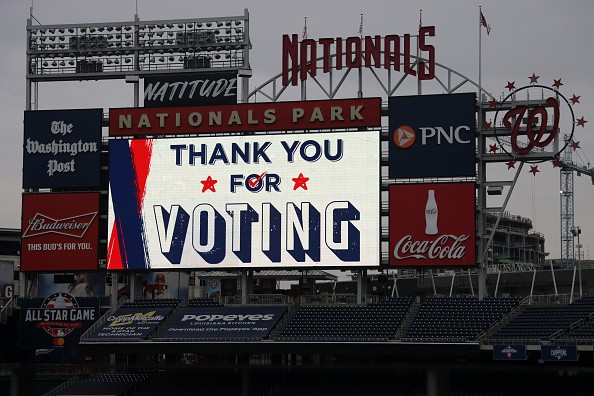 """A """"Thank You For Voting"""" sign is on display at an early voting center..."""