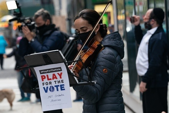 In New York, NY, Metropolitan Opera Orchestra musicians perform classical music