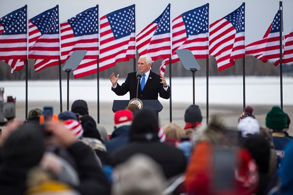 Vice President Mike Pence speaks at a rally on October 26, 2020 in...