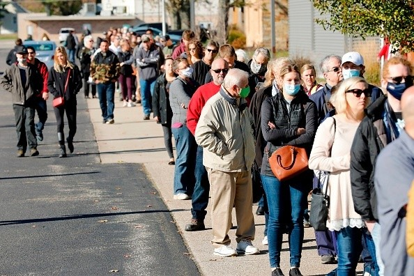 In Allendale, Michigan, people wait in line to vote at Life Stream Church