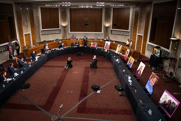 Democratic Senators on the Senate Judiciary Committee boycott the...