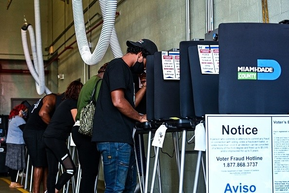In Miami, Florida, voters cast their ballots at the Indian Creek Fire Station 4