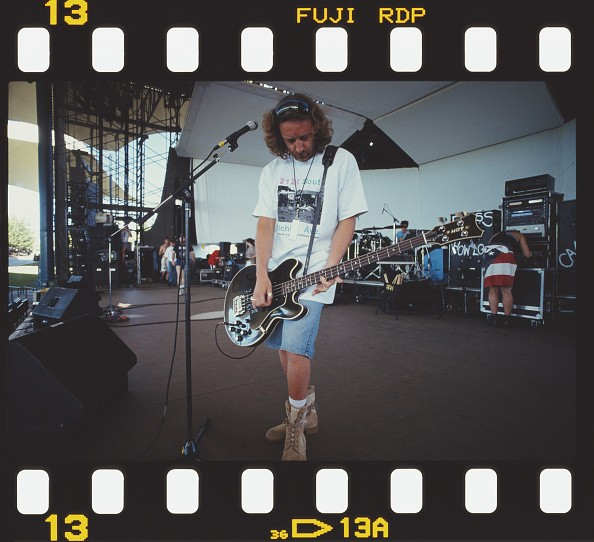 Bassist Peter Hook of English rock group New Order, soundchecking on...
