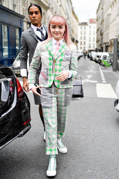 Maisie Williams attends the Thom Browne show as part of the Paris...