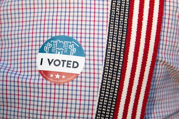 An I voted sticker celebrates voting in Phoenix, Arizona