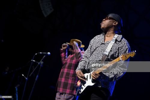 Guitarist Ricky Rouse peforms wth George Clinton at Chene Park on...