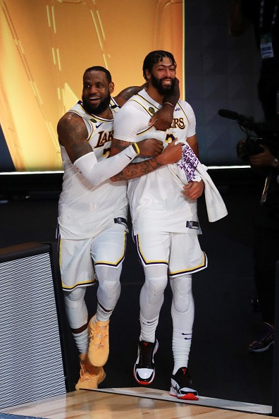 LeBron James of the Los Angeles Lakers and Anthony Davis of the Los...