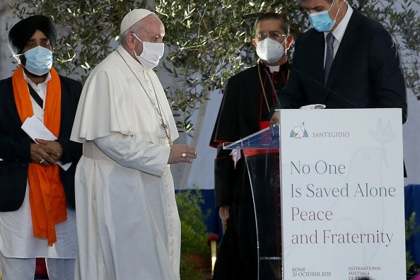 "Pope Francis attends an International Prayer Meeting for Peace ""No..."