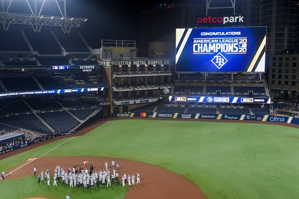 The Tampa Bay Rays celebrate as the Rays defeated the Houston Astros...