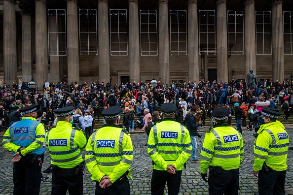 Crowds gather at St George's Hall during an anti lockdown protest on...