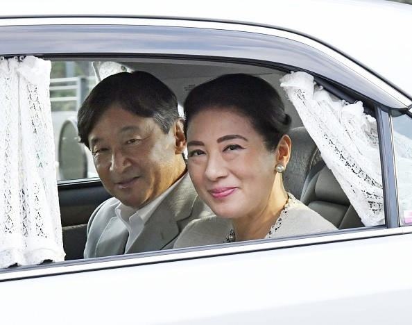 Japanese Emperor Naruhito and Empress Masako arrive at the Imperial...