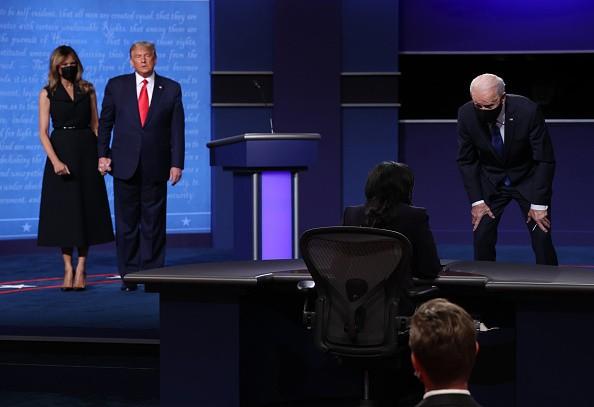 Democratic presidential nominee Joe Biden speaks to moderator Kristen...