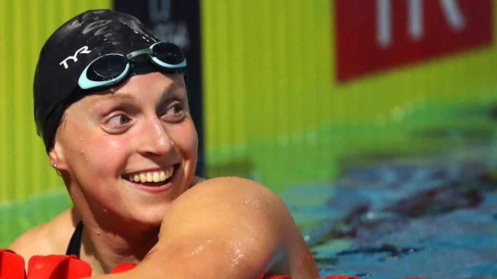 Katie Ledecky Just Swam an Entire Pool Lap With a Cup of Milk on Her Head—and Didn't Spill a Drop
