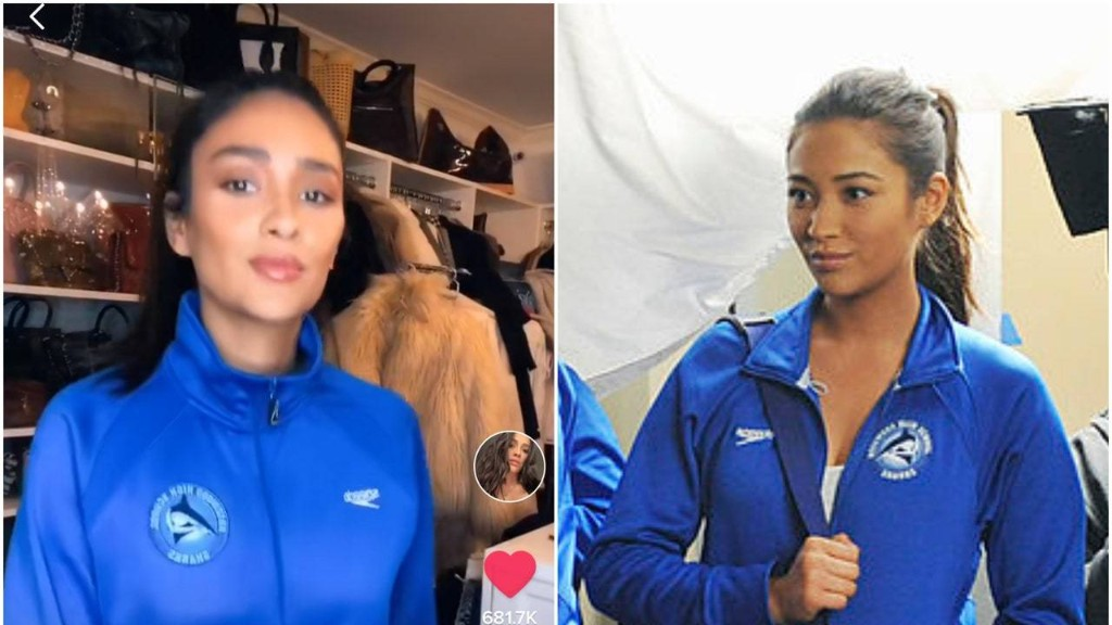 Shay Mitchell Dresses Up as Peach From You and Emily From Pretty Little Liars for TikTok Challenge
