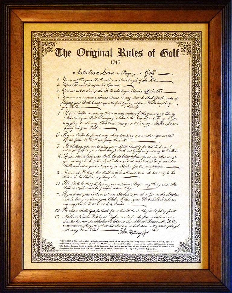 Did you know: The Original Rules of Golf fit on one (big) page