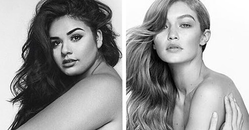 Plus-Size Model Diana Sirokai Recreates Gigi Hadid Stuart Weitzman Ad