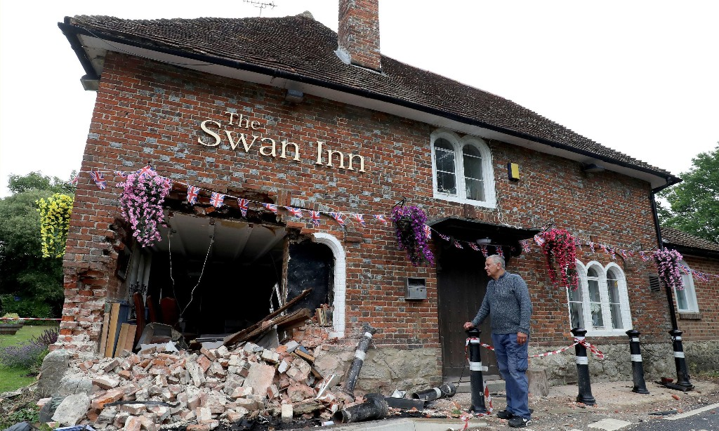 Pub opens for England's lockdown easing despite being hit by car