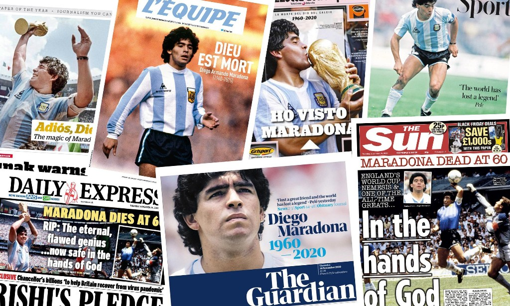 'In the hands of God': what the papers say about the death of Diego Maradona