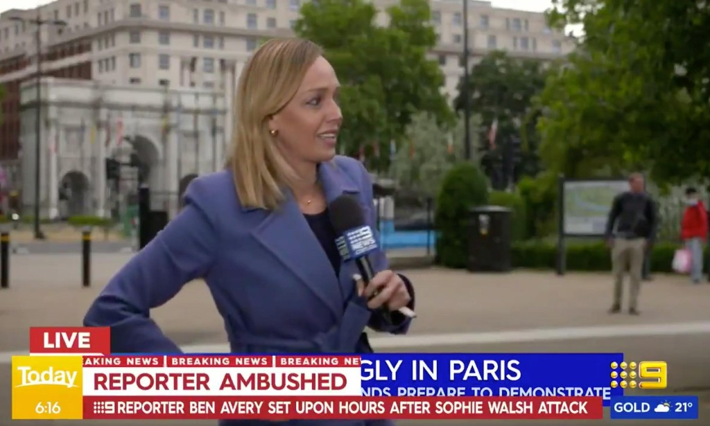 Australian reporters assaulted live on air while covering protests in London