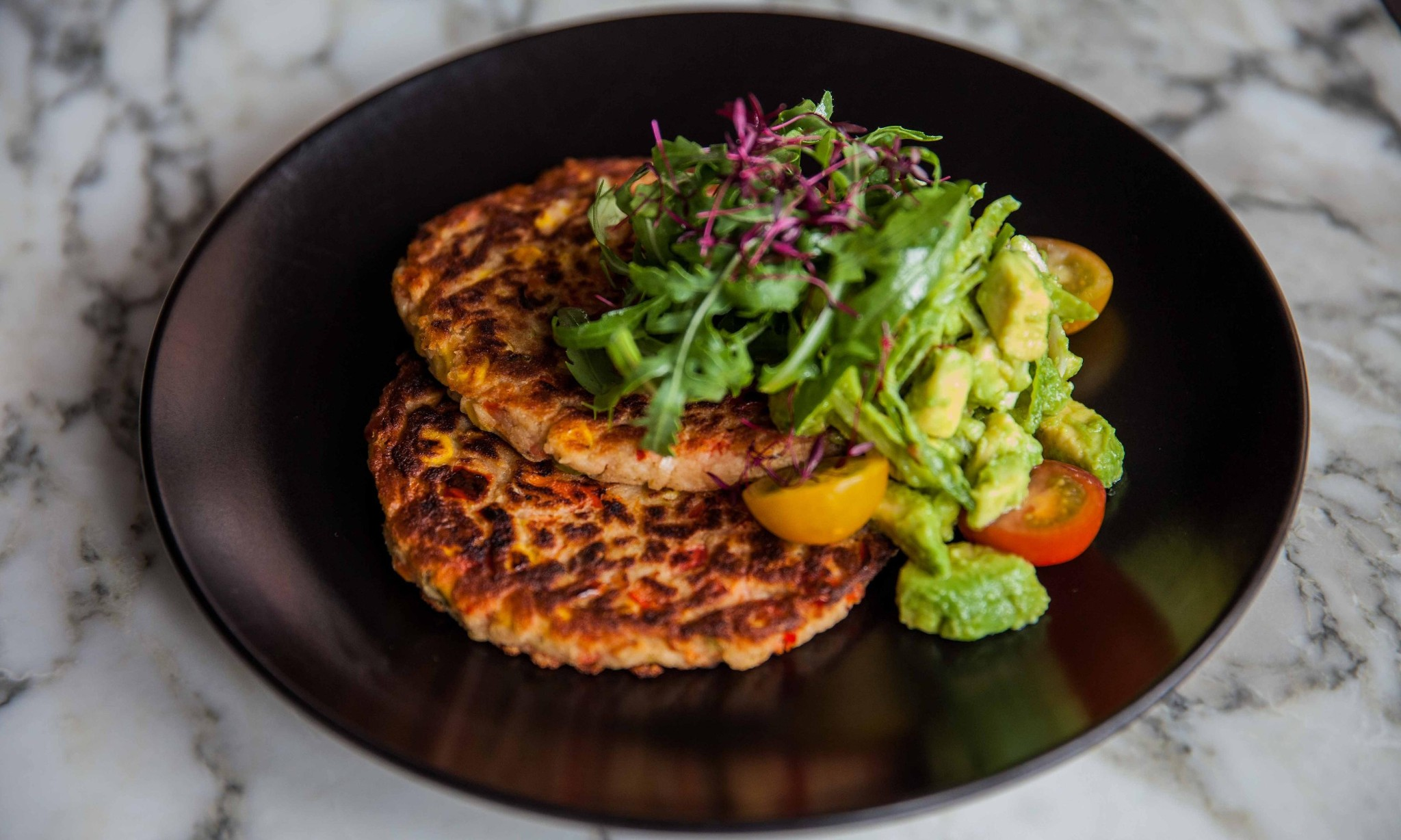 Andrea Waters's sweetcorn and red pepper pancakes with guacamole