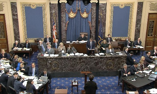 Trump impeachment trial: Democrats' bids for new evidence dashed in marathon first day