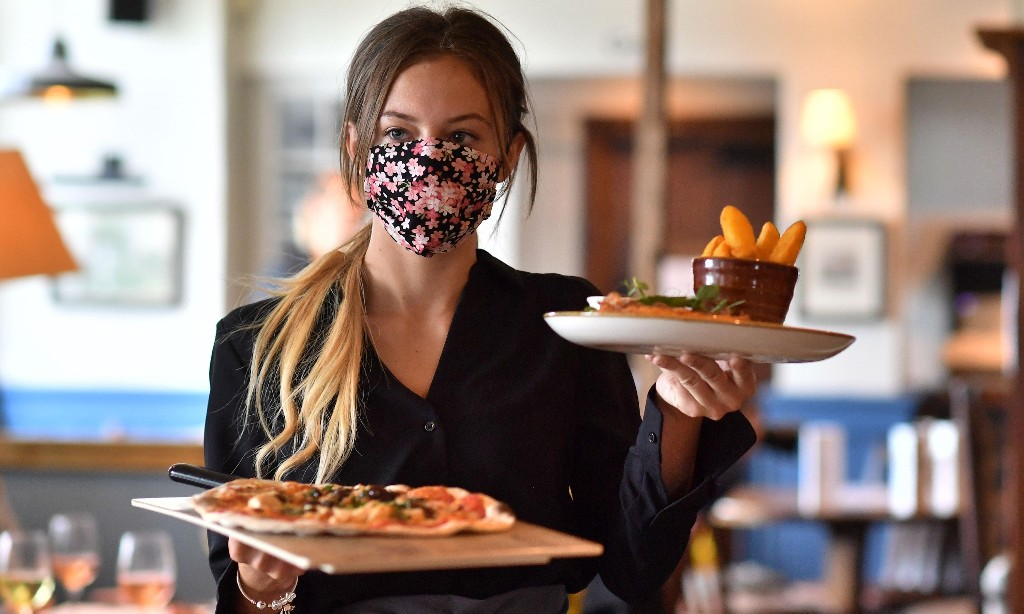 Pubs and restaurants in England trade at half their pre-virus levels