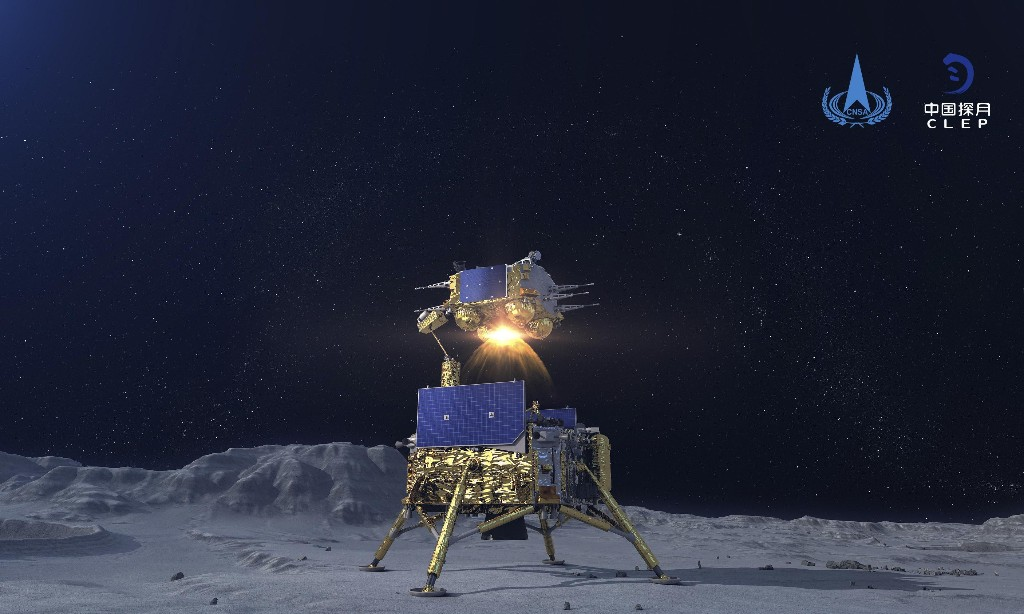 Chinese probe heads back to Earth after leaving moon's surface
