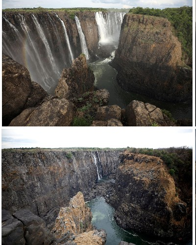Victoria Falls dries to a trickle after worst drought in a century