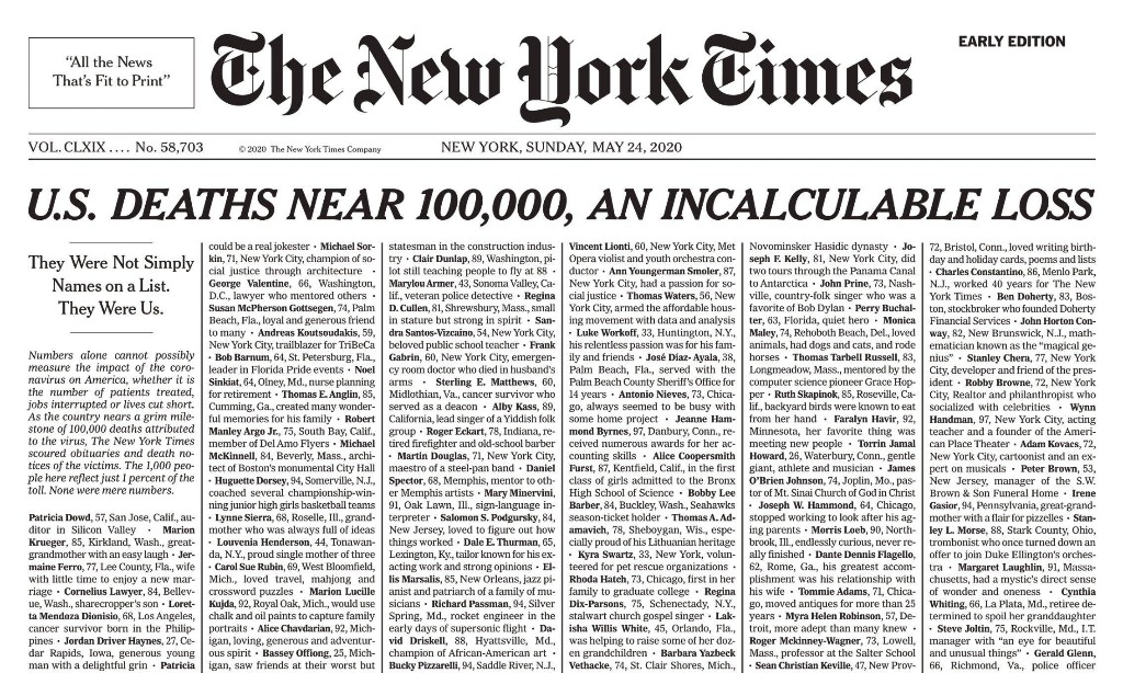 'Incalculable loss': New York Times covers front page with 1,000 Covid-19 death notices