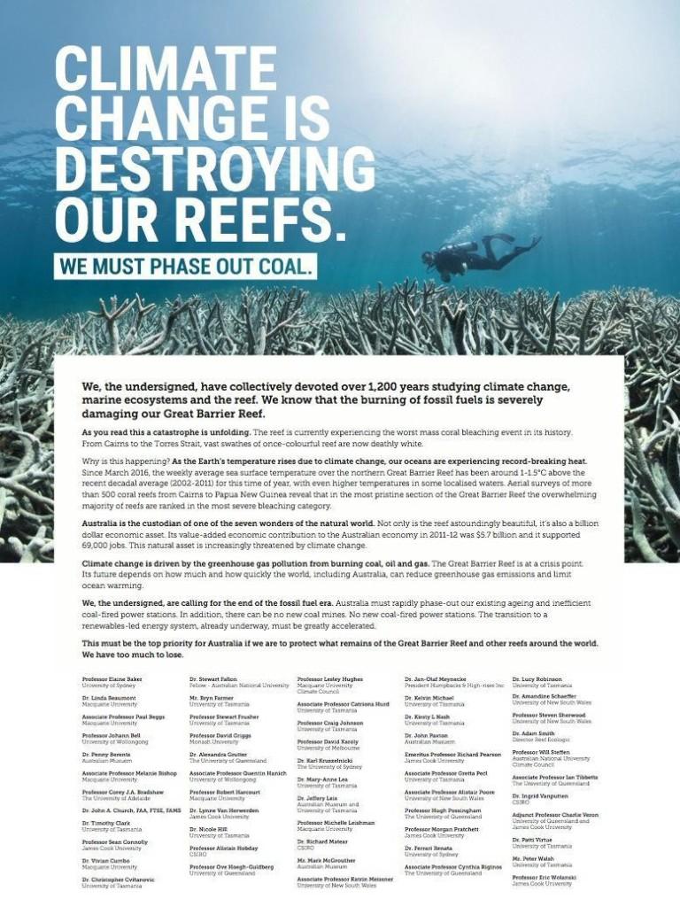 Scientists resort to advertising to get Great Barrier Reef crisis in Queensland paper