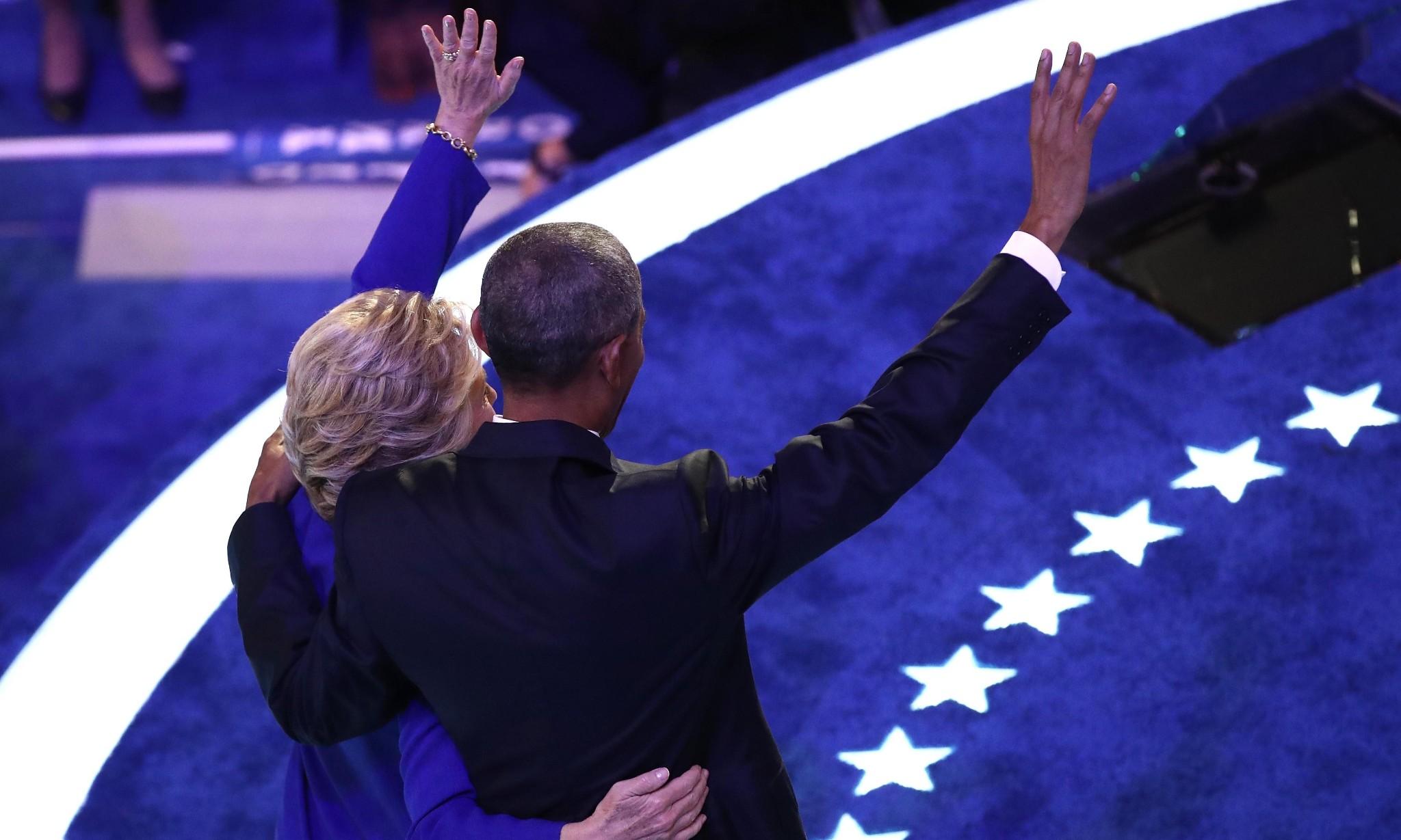 Emotional Obama bids long goodbye and passes baton of hope to Clinton