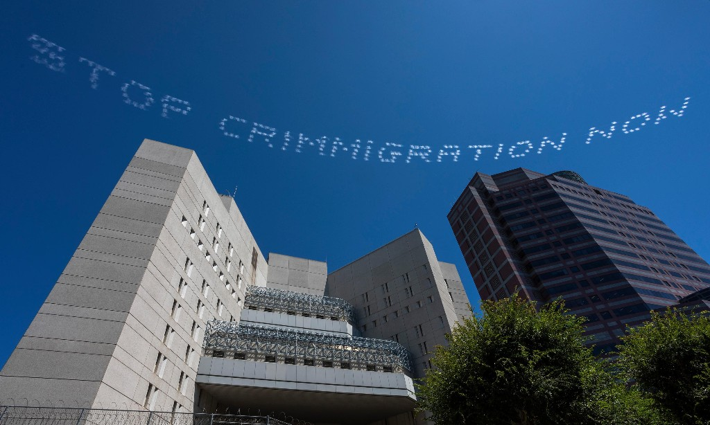 In Plain Sight skywriting project targets US culture of incarceration: 'We have a brief moment of clarity'